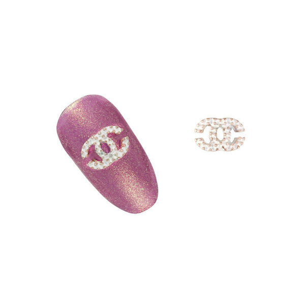 Nail Charm Coco Chanel Studded - White / Gold