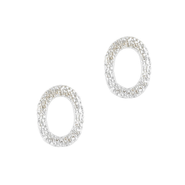 Nail Decor Textured Oval Frame - Silver