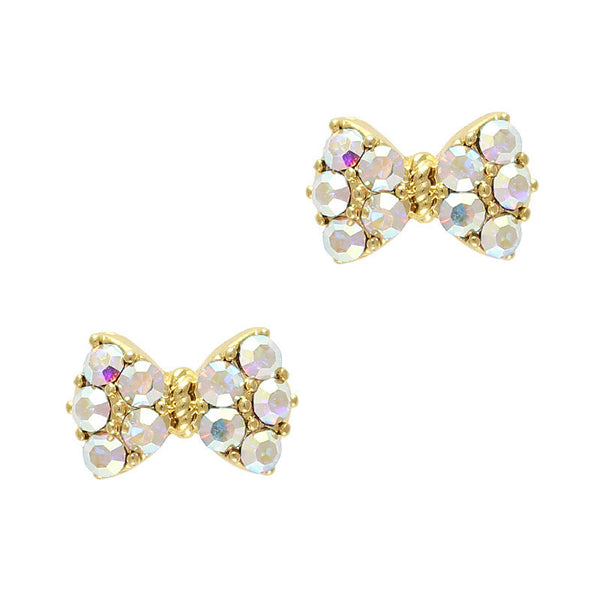 Princess Bow Swarovski Charm - Gold / AB Crystal