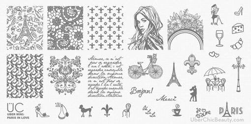 UberChic MINI Nail Stamping Plate - Paris In Love