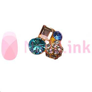 Nail Charm Cluster - Gold And Blue
