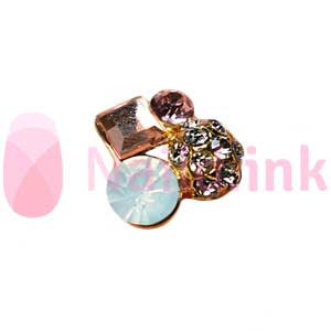 Nail Charm Cluster - Gold And Pink
