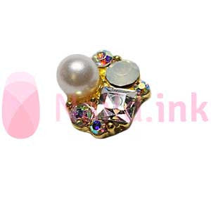 Nail Charm Cluster - Gold And Silver With Pearl
