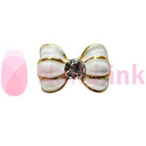 Nail Charm Bow -  White Gold With Rhinestones