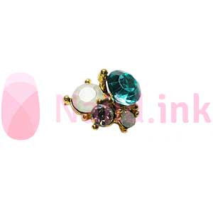 Nail Charm Cluster - Gold White And Blue