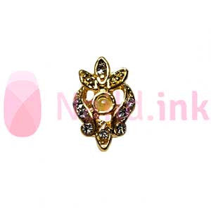 Nail Charm - Gold With Pearl Rhinestone Ornament