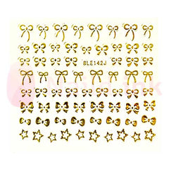 Nail Art Stickers - Golden Bows