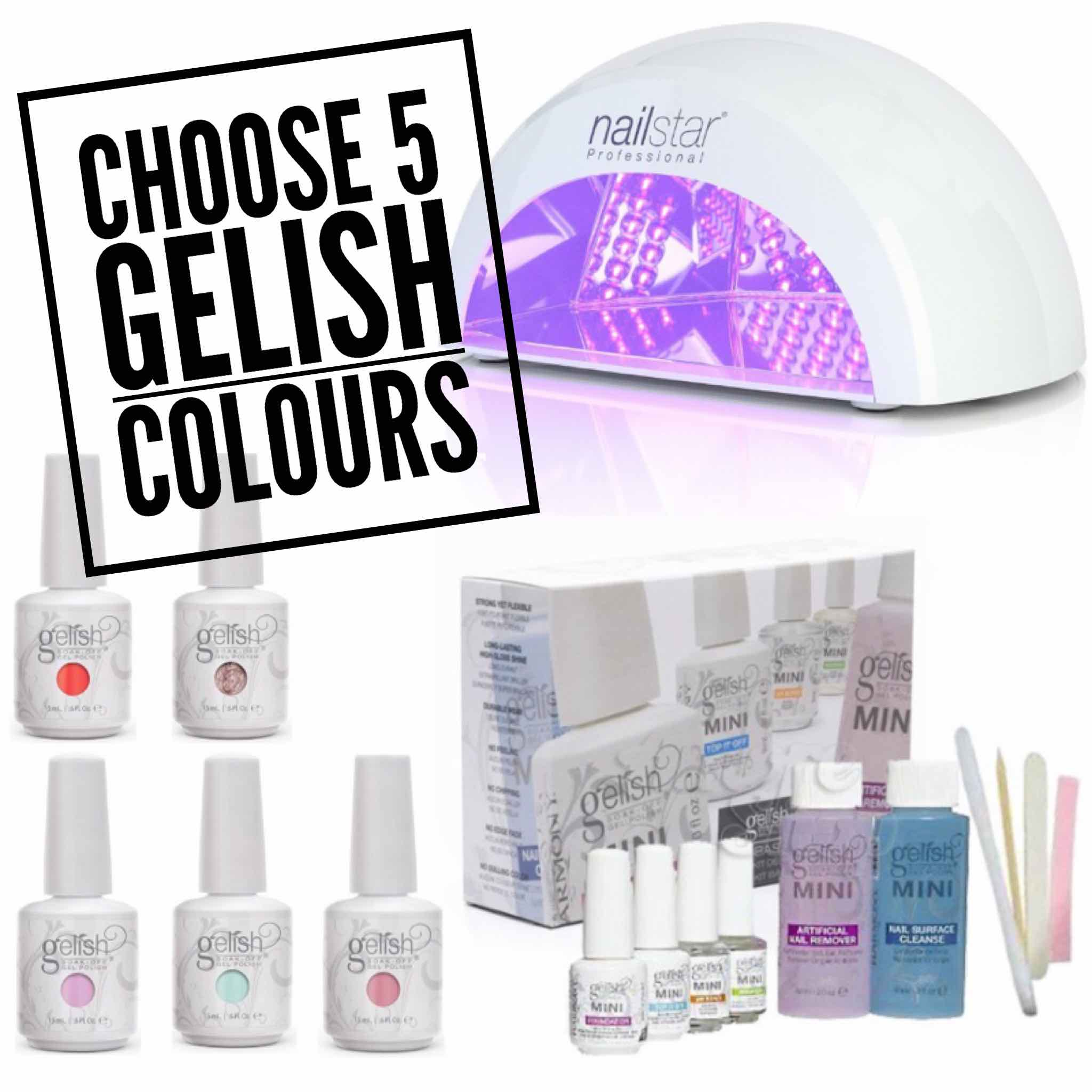 Home Use Gelish Starter Kit with 12W LED Lamp (Choose Colours)