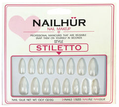 Nailhur Snap On Manicure - Clear (Stiletto)