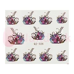 Nail Art Stickers - Black & Purple Flower