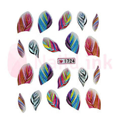 Nail Art Stickers - Colourful Feathers