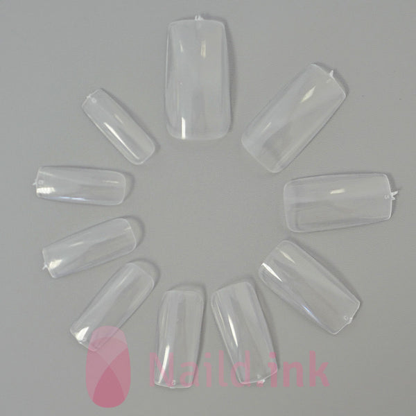 Full Cover Nail Tip Square - Clear (500 pieces)