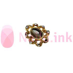 Nail Charm - Gold With Black Rhinestone Ornament