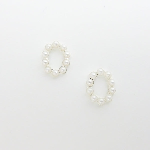 Nail Decor Oval Frame - Pearls