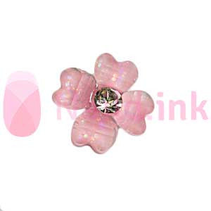 Nail Charm - Pink Flower With Rhinestone