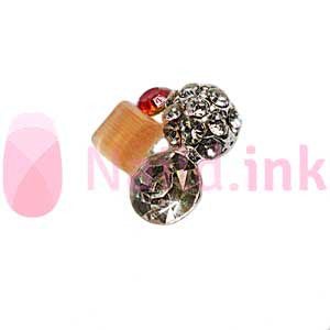Nail Charm Cluster - Peach Red And Silver