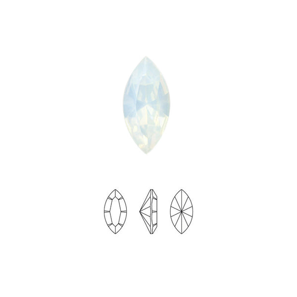 Swarovski Navette Fancy Pointed Back Rhinestone - White Opal