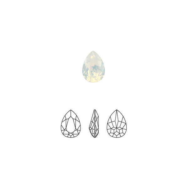 Swarovski Pear Fancy Pointed Back Rhinestone - White Opal