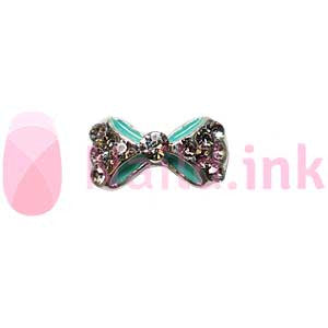 Nail Charm Bow - Sea Green With Rhinestones
