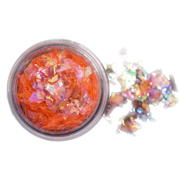 Foil Glitter Chips - Neon Orange (With Pink Undertone)
