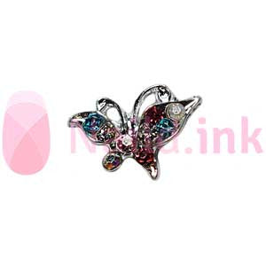 Nail Charm Butterfly - Silver With Colorful Rhinestones