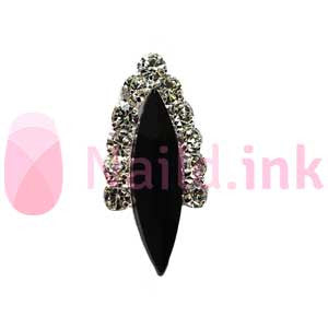 Nail Charm - Silver With Black Rhinestone Ornament