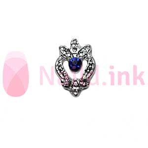 Nail Charm - Silver With Blue Rhinestone Ornament