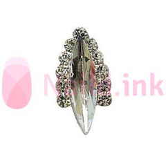 Nail Charm - Silver With Clear Rhinestone Ornament