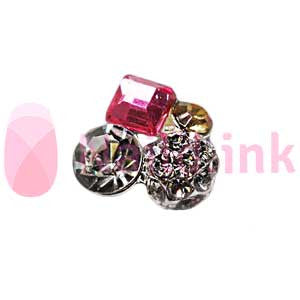 Nail Charm Cluster - Silver, Pink And Gold