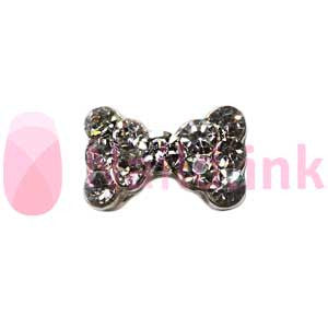 Nail Charm Bow - Silver with Rhinestones