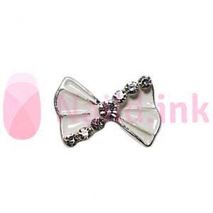 Nail Charm Bow -  White Silver With Rhinestones