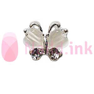 Nail Charm Butterfly - Silver / White