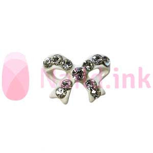 Nail Charm Bow - White With Rhinestones