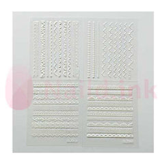 Nail Art Stickers - White Pattern 5