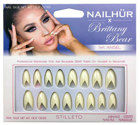 Nailhur Snap On Manicure - Angel (Stiletto)