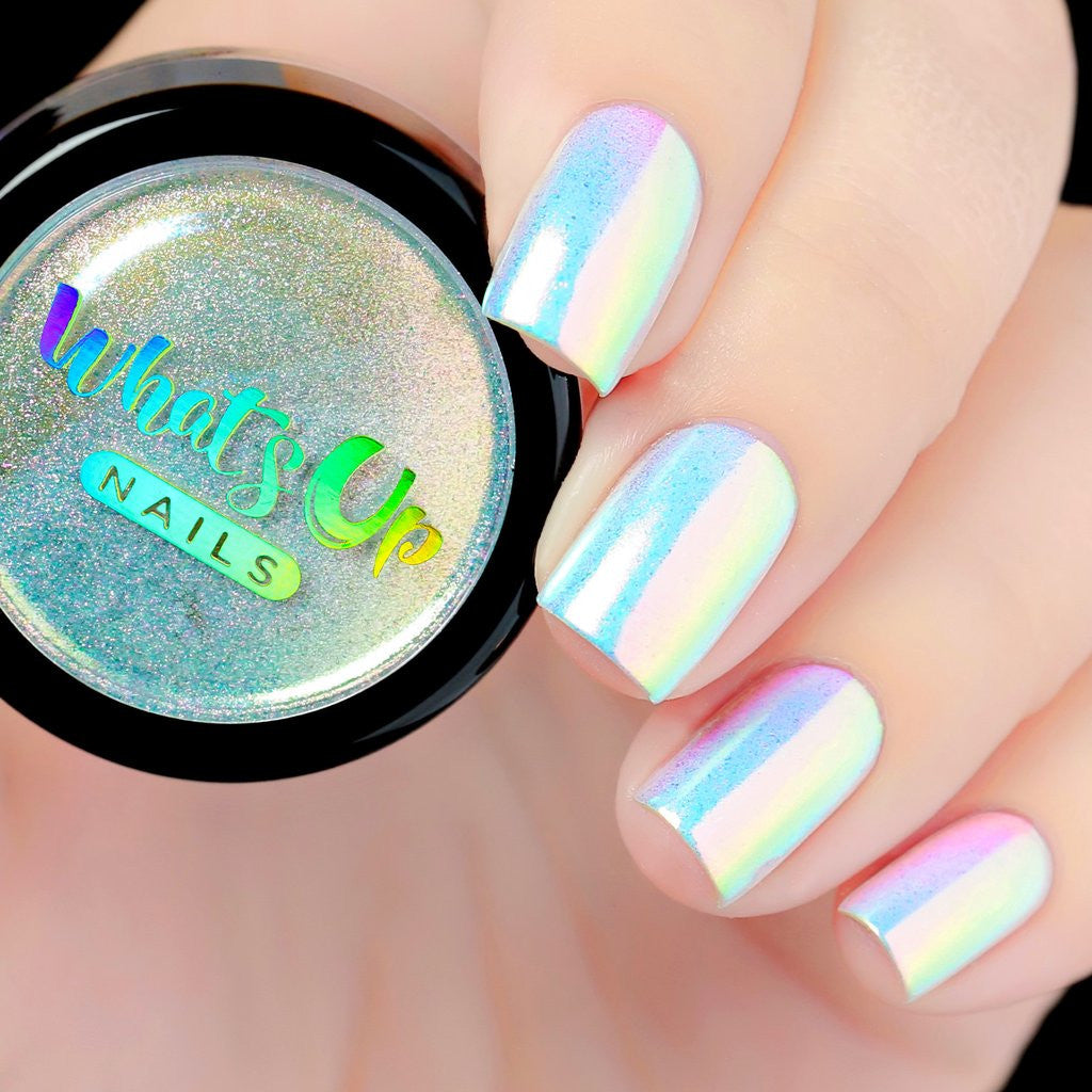 How To Use Chrome Nail Powder Without Gel: Whats Up Nails Aurora Pigment (Unicorn Powder