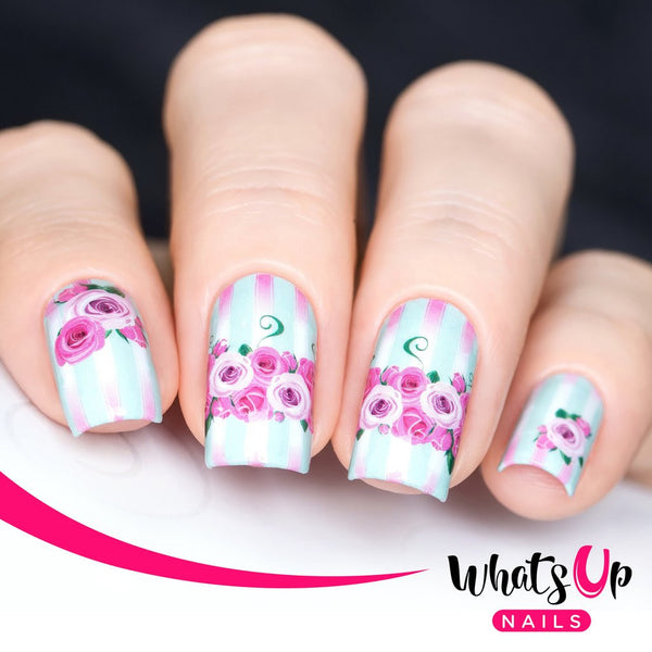 Whats Up Nails - P027 Pink Roses in Bloom Water Decals
