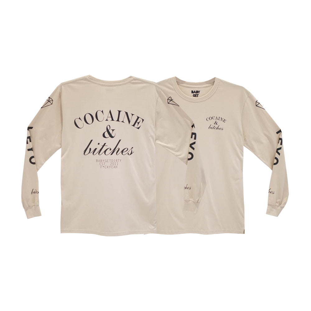 COCAINE & BITCHES LONG SLEEVE TAN