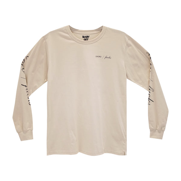 ZERO FUCKS LONG SLEEVE TAN