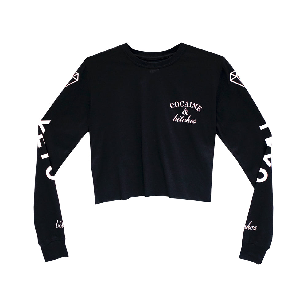 COCAINE & BITCHES GIRLS LONG SLEEVE CROP