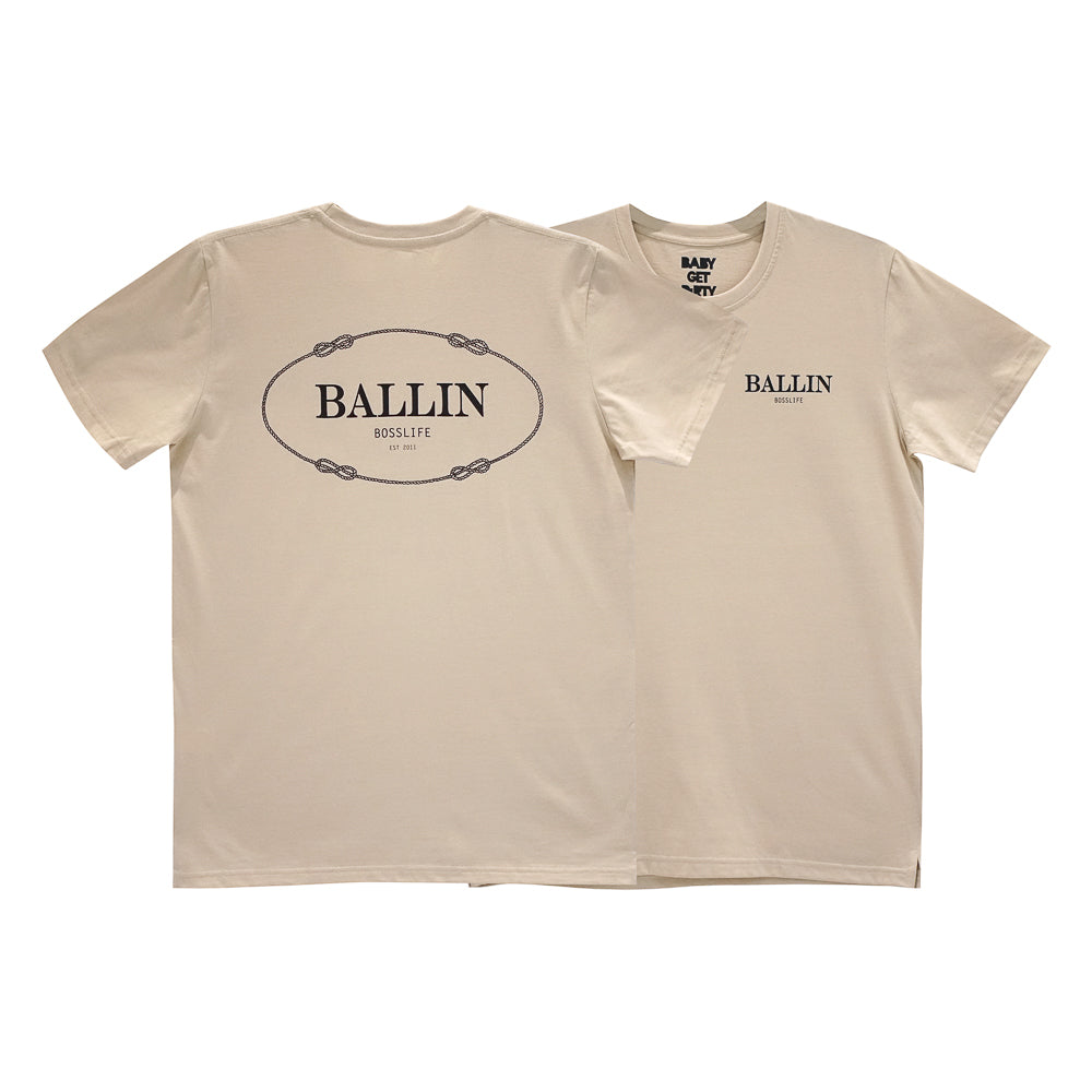 BALLIN BOSSLIFE BOYS SMALL PRINT TEE TAN