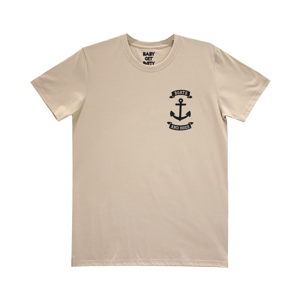 BOATS AND HOES BOYS SMALL PRINT TEE TAN