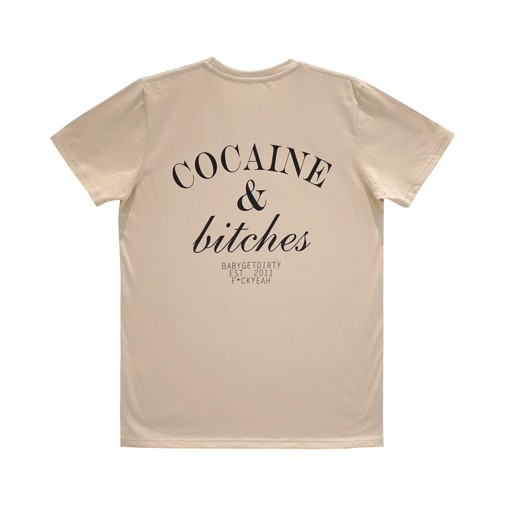 COCAINE AND BITCHES BOYS SMALL PRINT TEE TAN