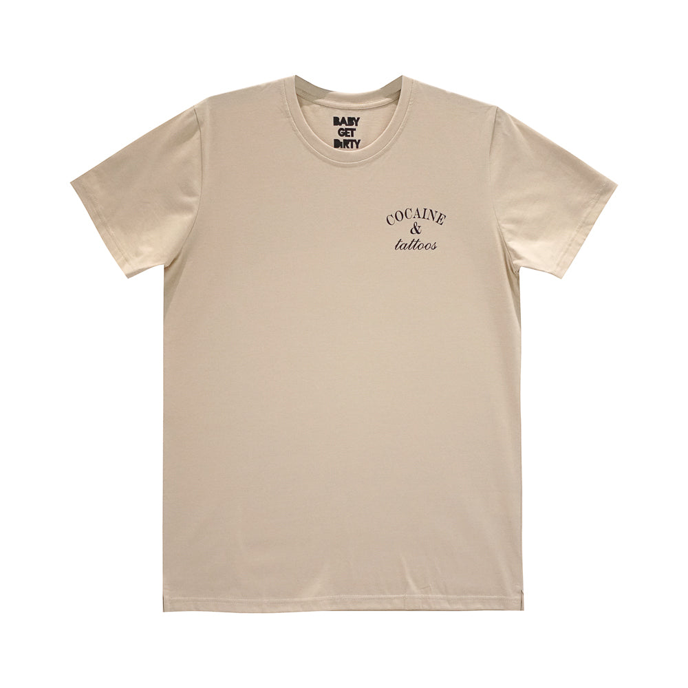 COCAINE AND TATTOOS BOYS SMALL PRINT TEE TAN