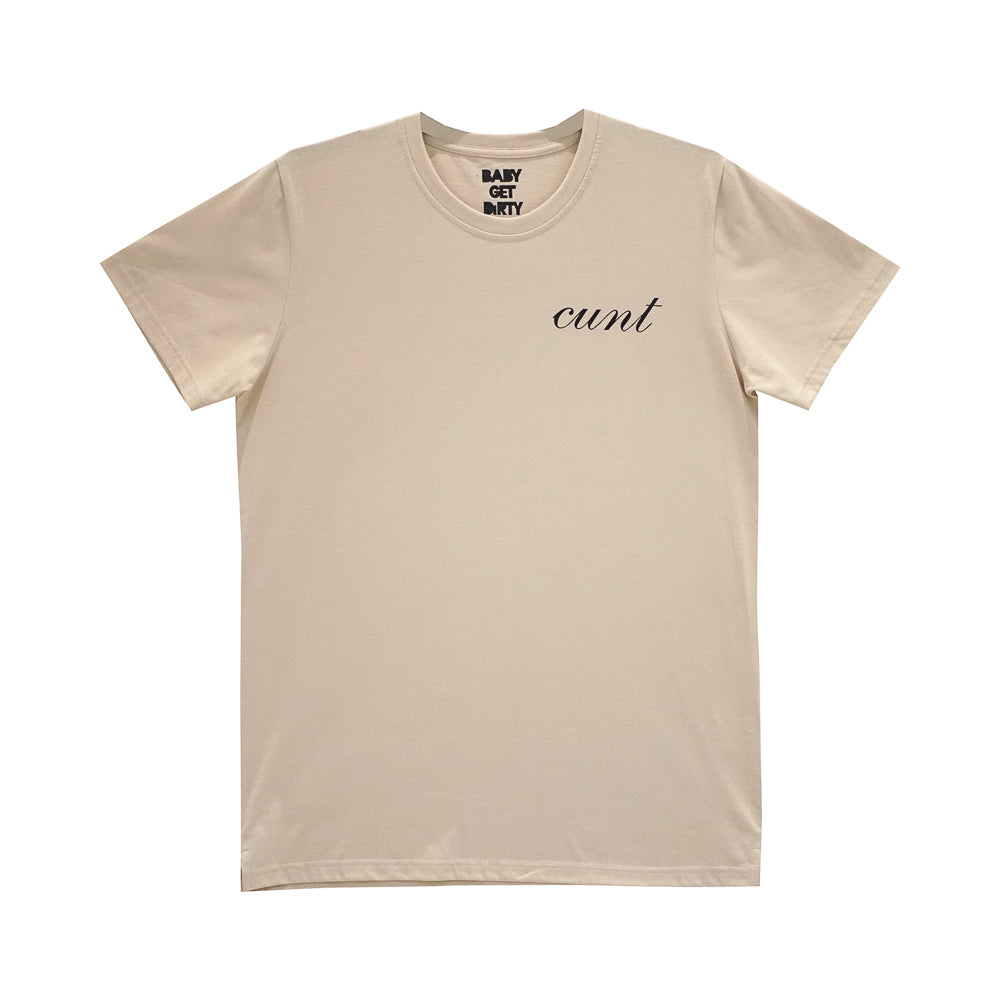 CUNT V2 BOYS SMALL PRINT TEE TAN