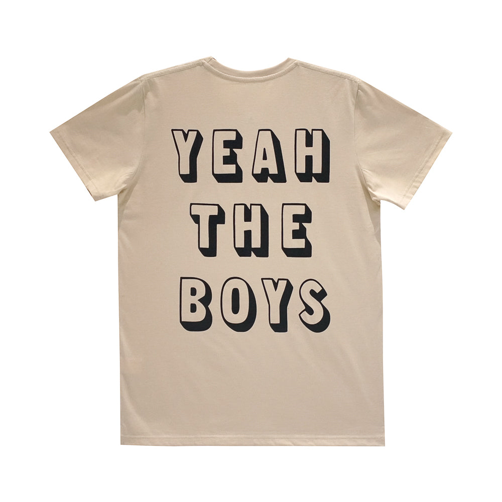 YEAH THE BOYS BOYS SMALL PRINT TEE TAN