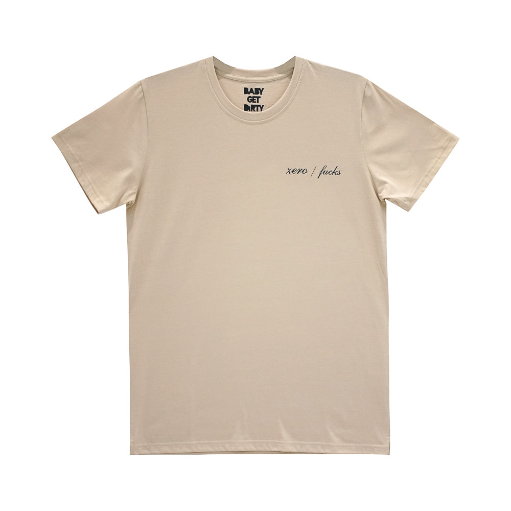 ZERO FUCKS BOYS SMALL PRINT TEE TAN