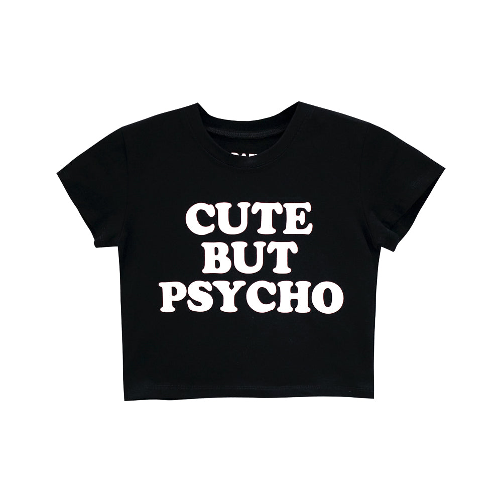 CUTE BUT PSYCHO CROP TEE FITTED
