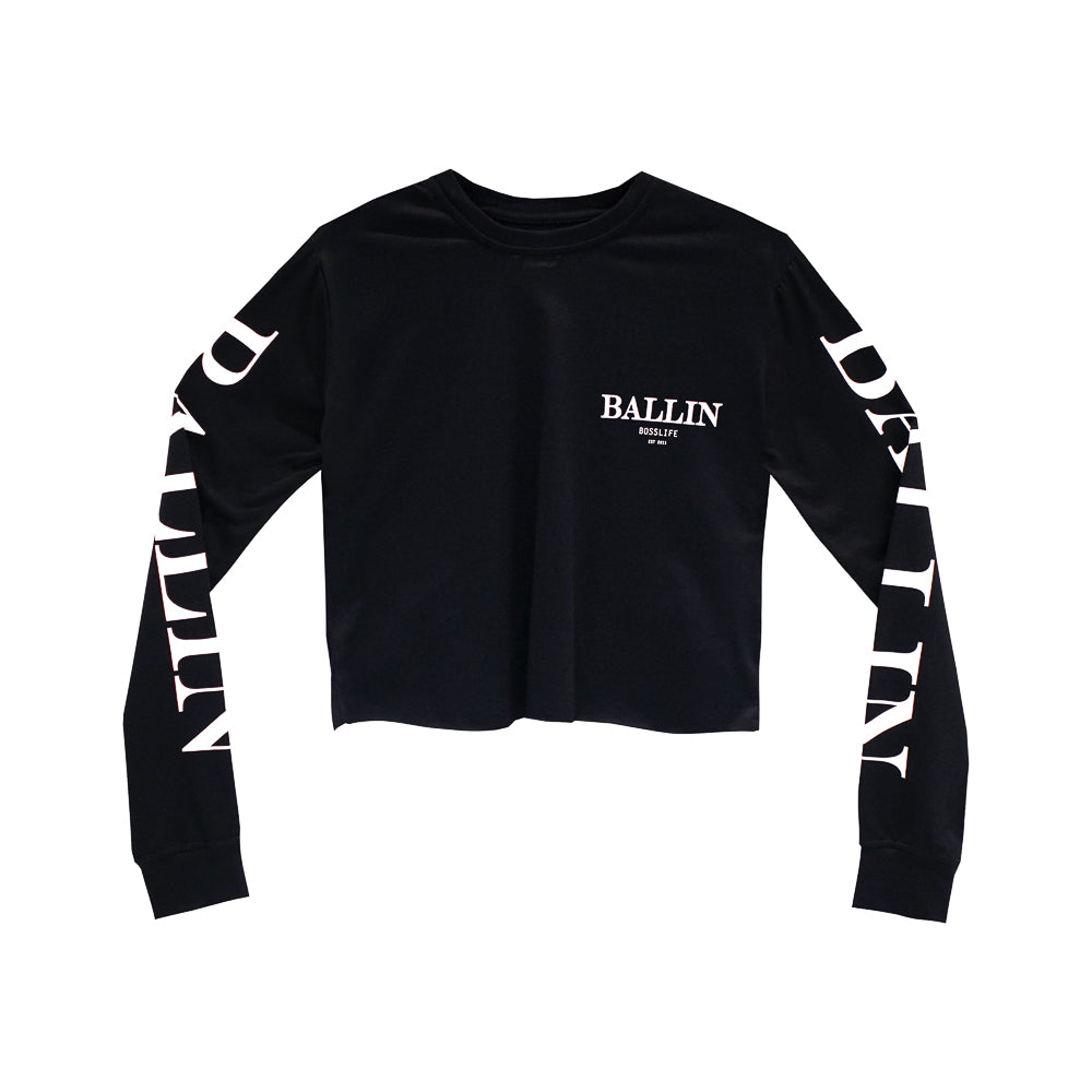 BALLIN BOSSLIFE GIRLS LONG SLEEVE CROP