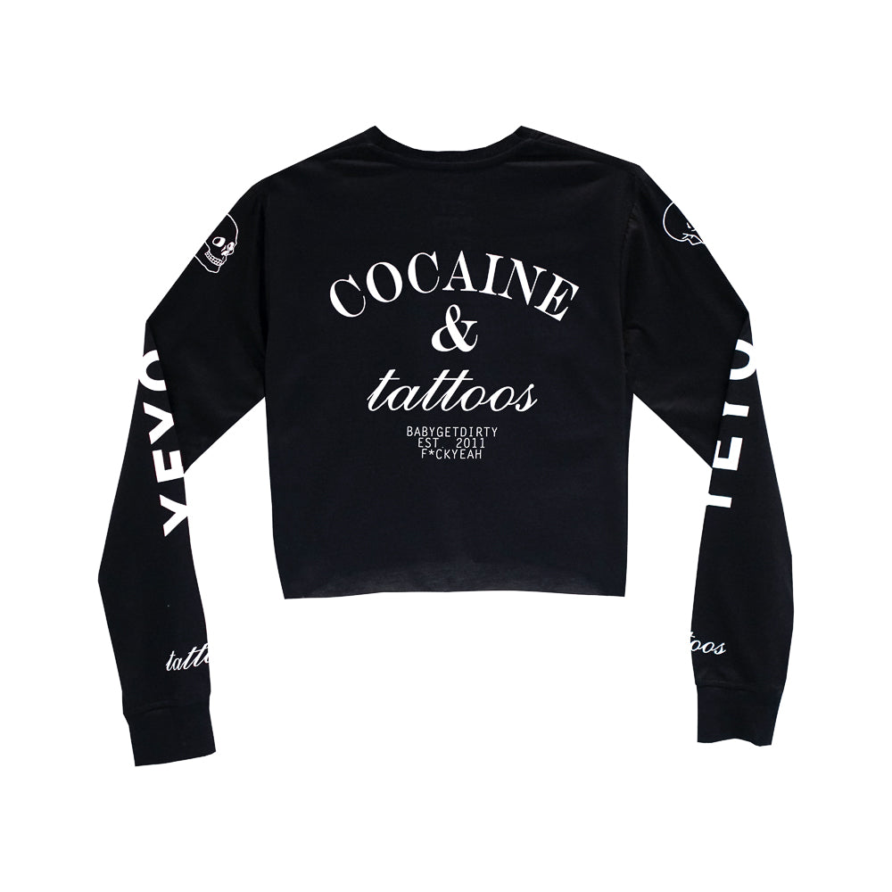 COCAINE & TATTOOS GIRLS LONG SLEEVE CROP